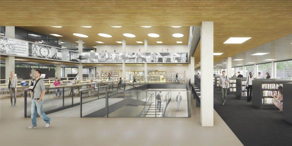 Gerenoveerd Universiteit Bibliotheek op de Erasmus Universiteit te Rotterdam